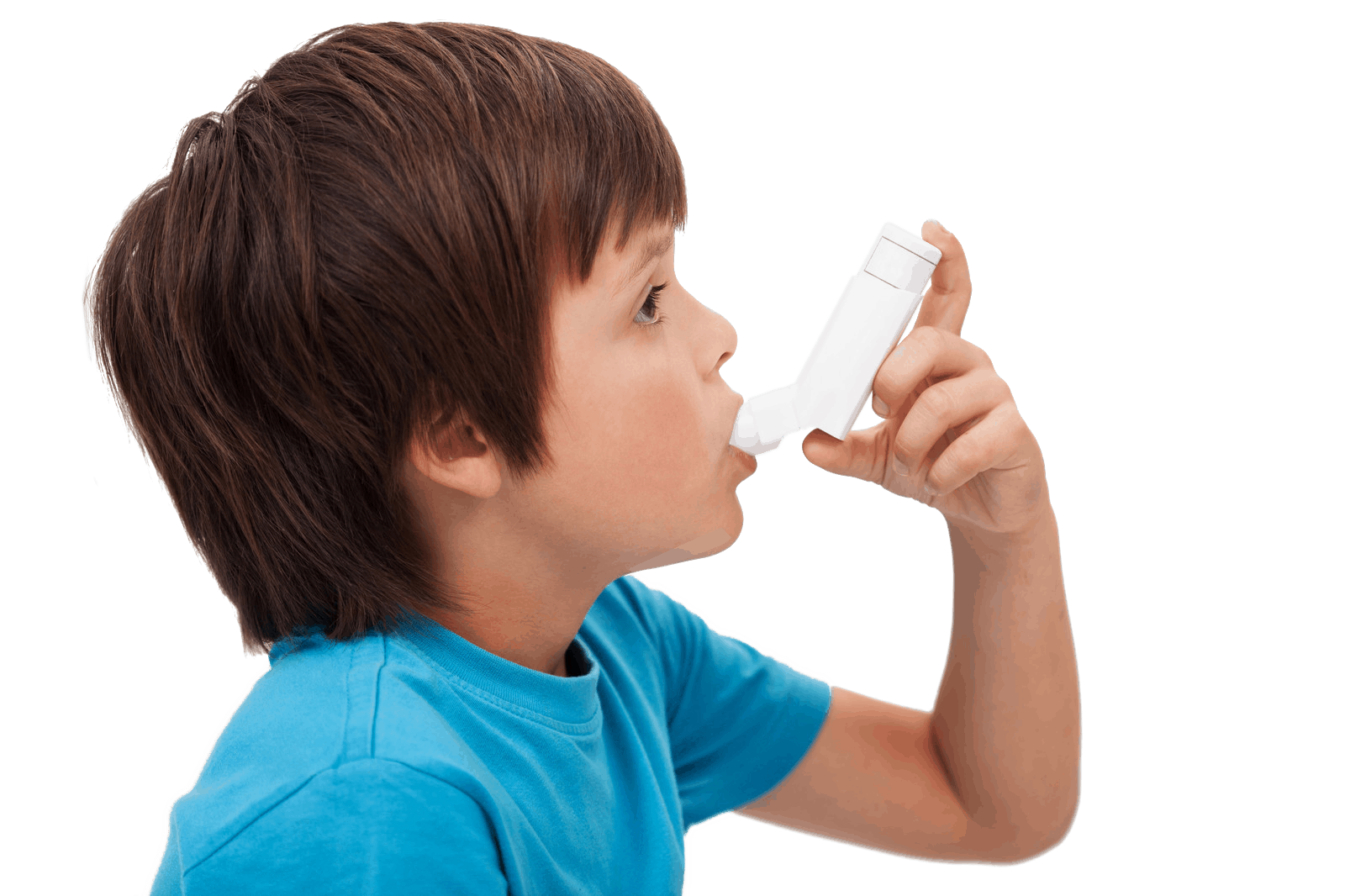 A child in taking spray for Asthma - NAET Dubai